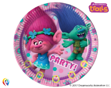8 Trolls Paper Party Plates